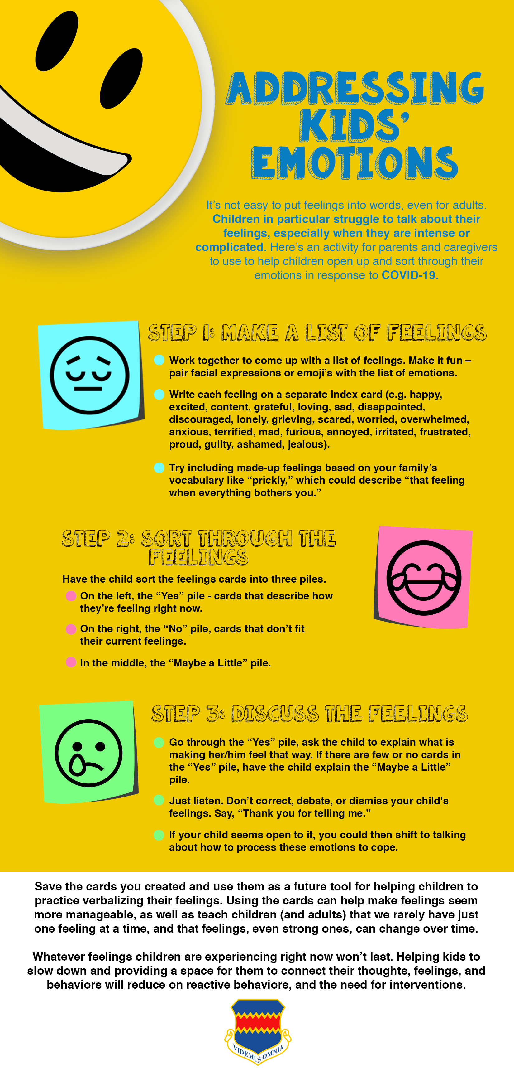 Graphic to assist parents dealing with kids emotions