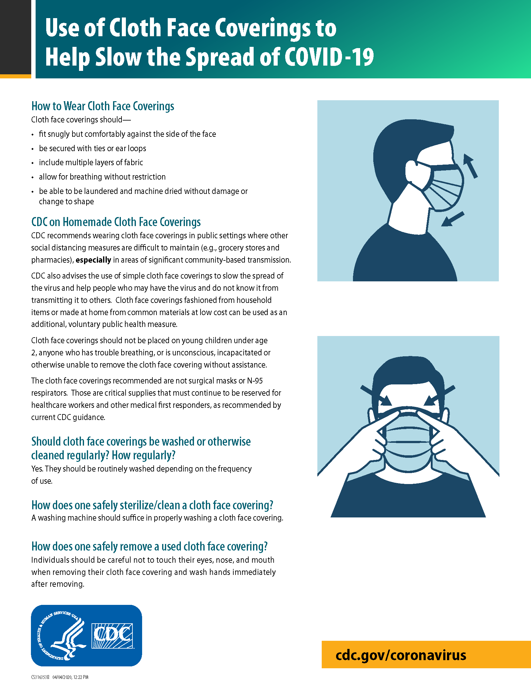 Graphic 1 of CDC cloth face coverings instructions