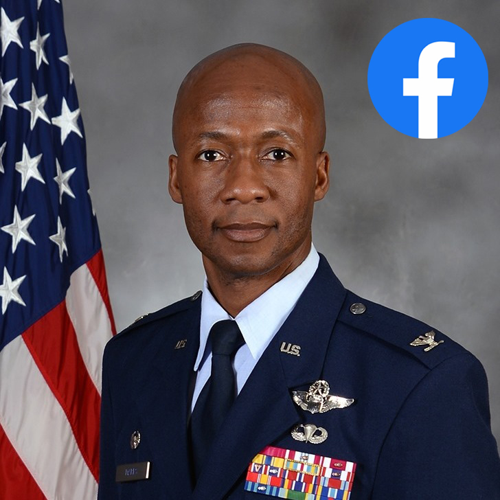graphic with link to Col. Gavin Marks, 55th Wing commanders, Facebook page.